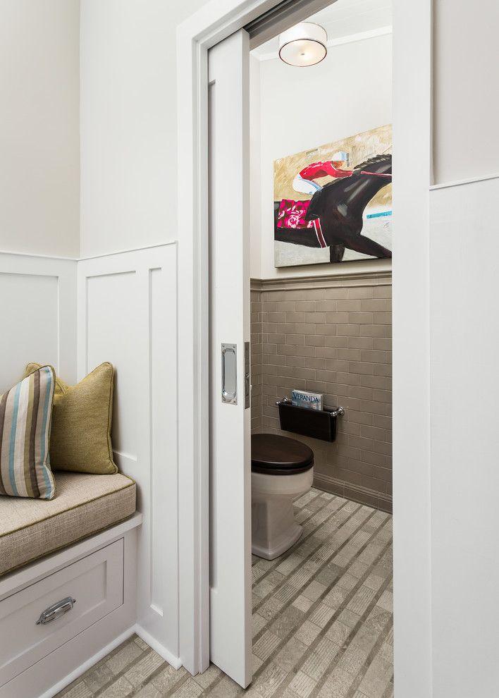 pocket door hardware Bathroom Transitional with beadboard ceiling ...