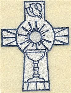 Embroidery.com: Cross with chalice & dove: Individual Designs