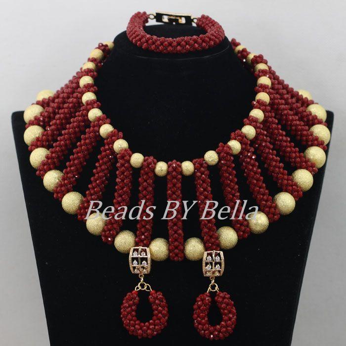 Latest+African+Fashion+Jewelry | Handmade Wine Color Nigerian ...