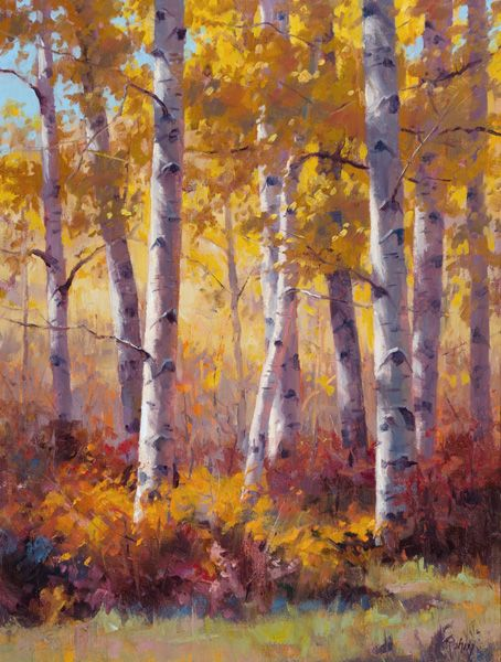 Robert Rohm, Aspen and Oaks, oil, 24 x 18.