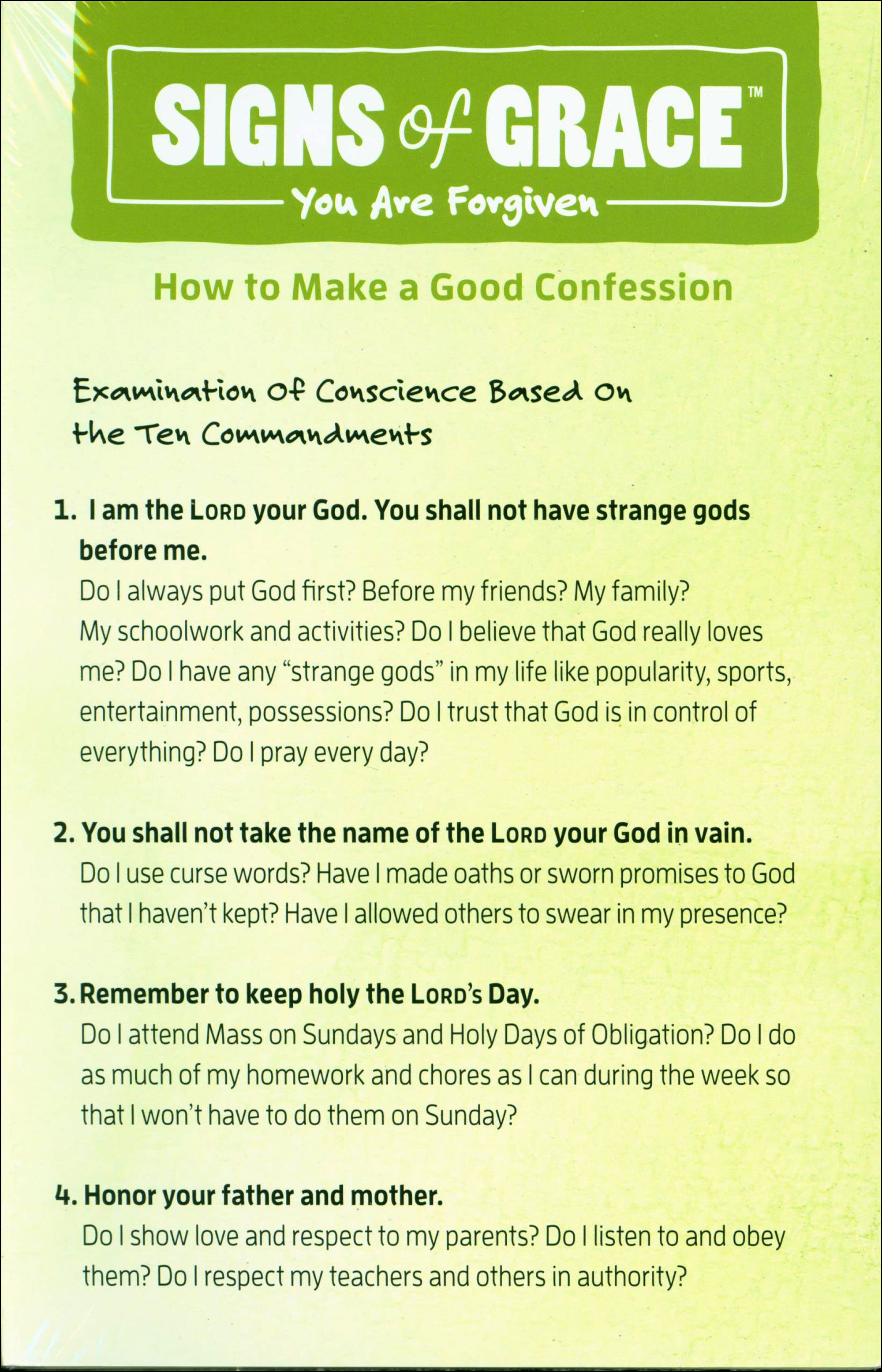 Signs Of Grace First Reconciliation Confession Card Examination Of Conscience Catholic Reconciliation Examination Of Conscience