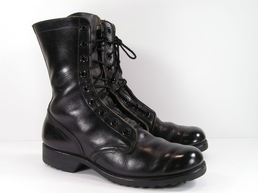 88b60b6808 vintage combat boots mens 9 D black leather military army #Unbranded ...