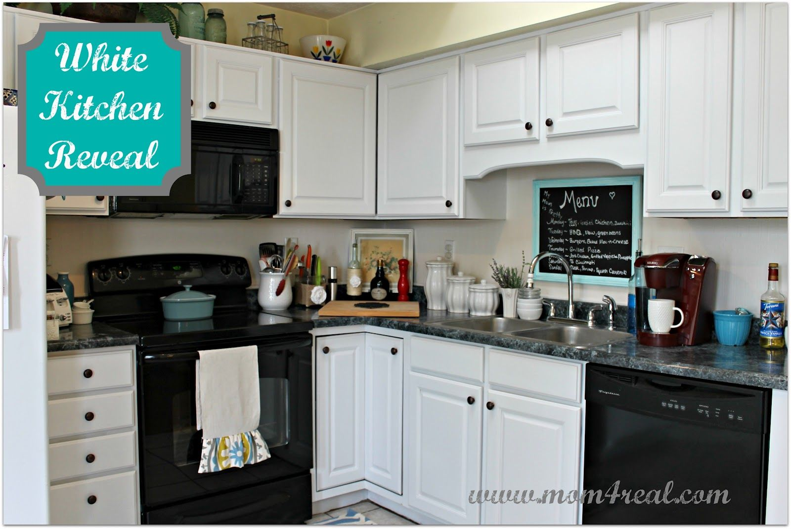 White Kitchen Reveal A Before After Mom 4 Real Kitchen Cabinets With Black Appliances Black Appliances Kitchen White Cabinets Black Appliances
