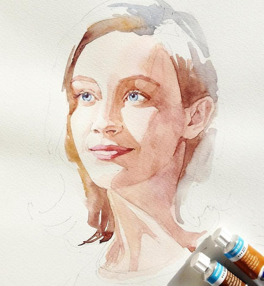 Watercolor Paintings By Dunja Jung Dessin Aquarelle Portrait