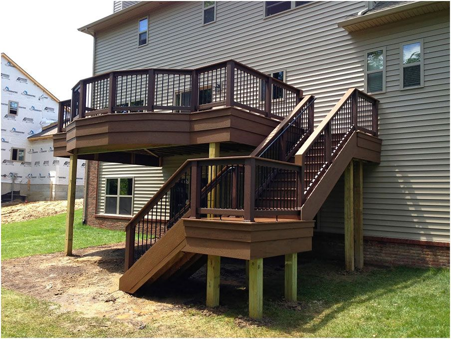 Beautiful deck designs over walkout basement deck for Walkout basement backyard ideas