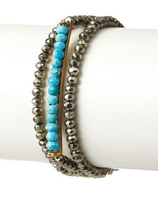 65% OFF Linda Levinson Triple-Wrap Pyrite & Turquoise Bar Stretch Bracelet