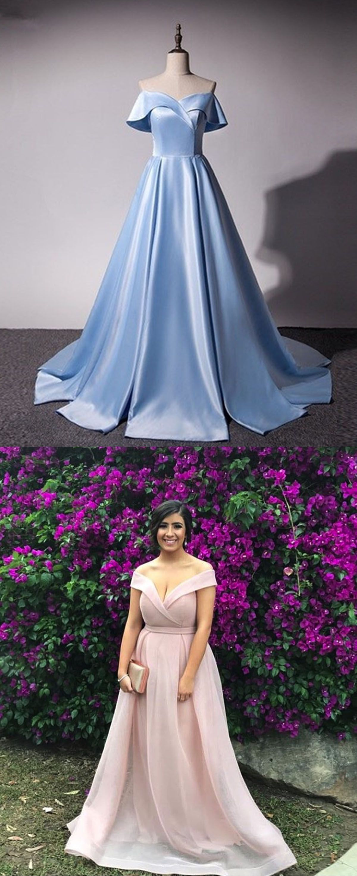 Blue and purple wedding dress  Fresh blue satin strapless Aline long sweet  prom dress long off