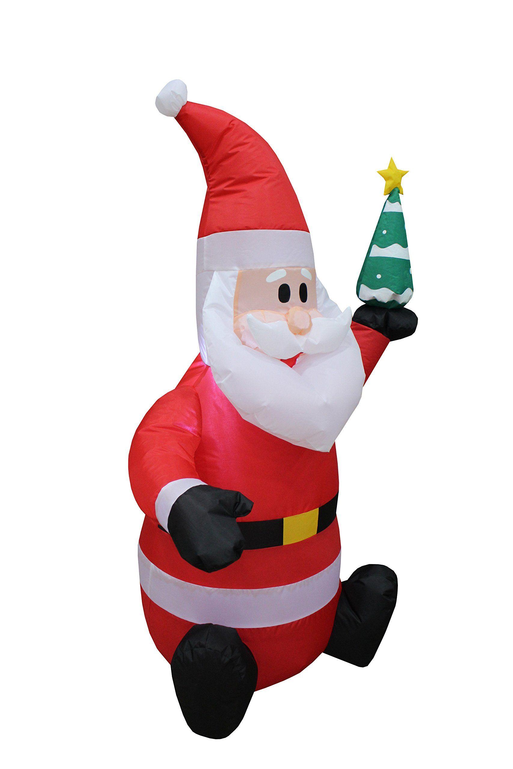 christmasdecor 4 Foot Tall Lighted Christmas Inflatable Santa Claus ...