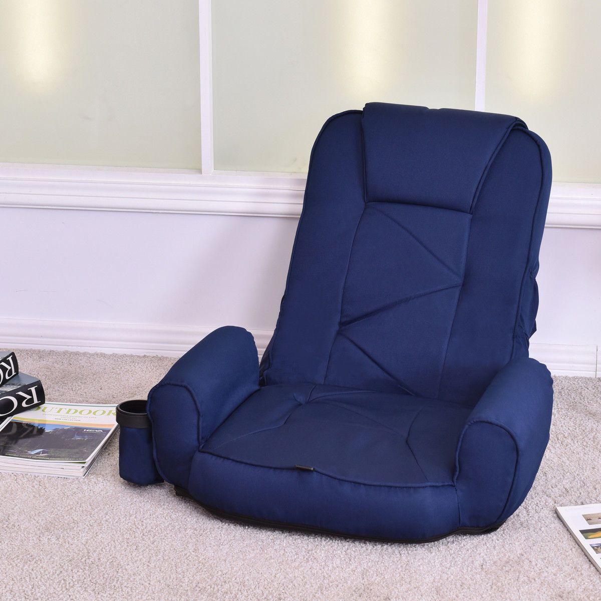 Giantex blue adjustable folding lazy sofa floor chair
