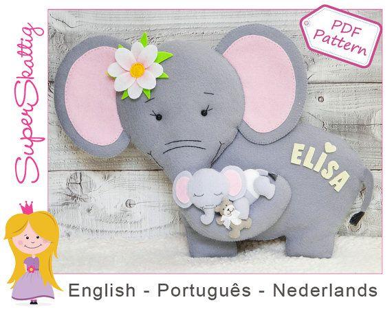 Felt pattern Mama Elephant softie pattern animal by SuperSkattig ...