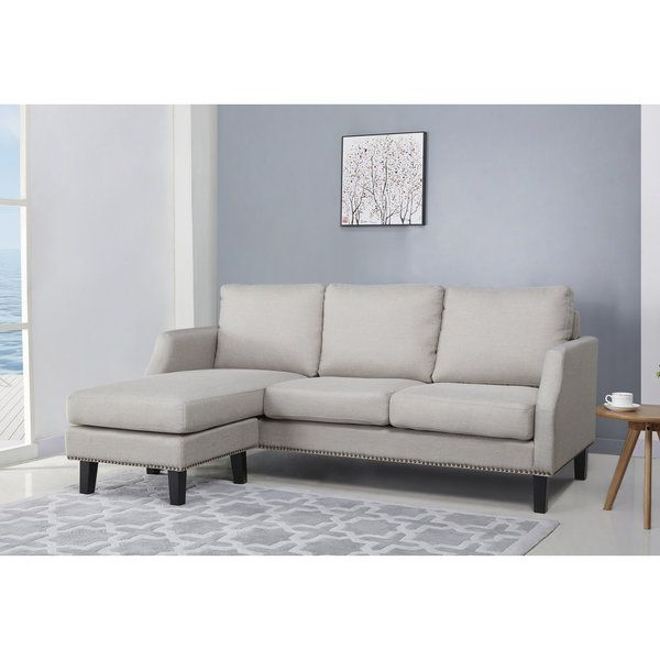 Abbyson Henry Light Grey Reversible Sofa Sectional Living Room