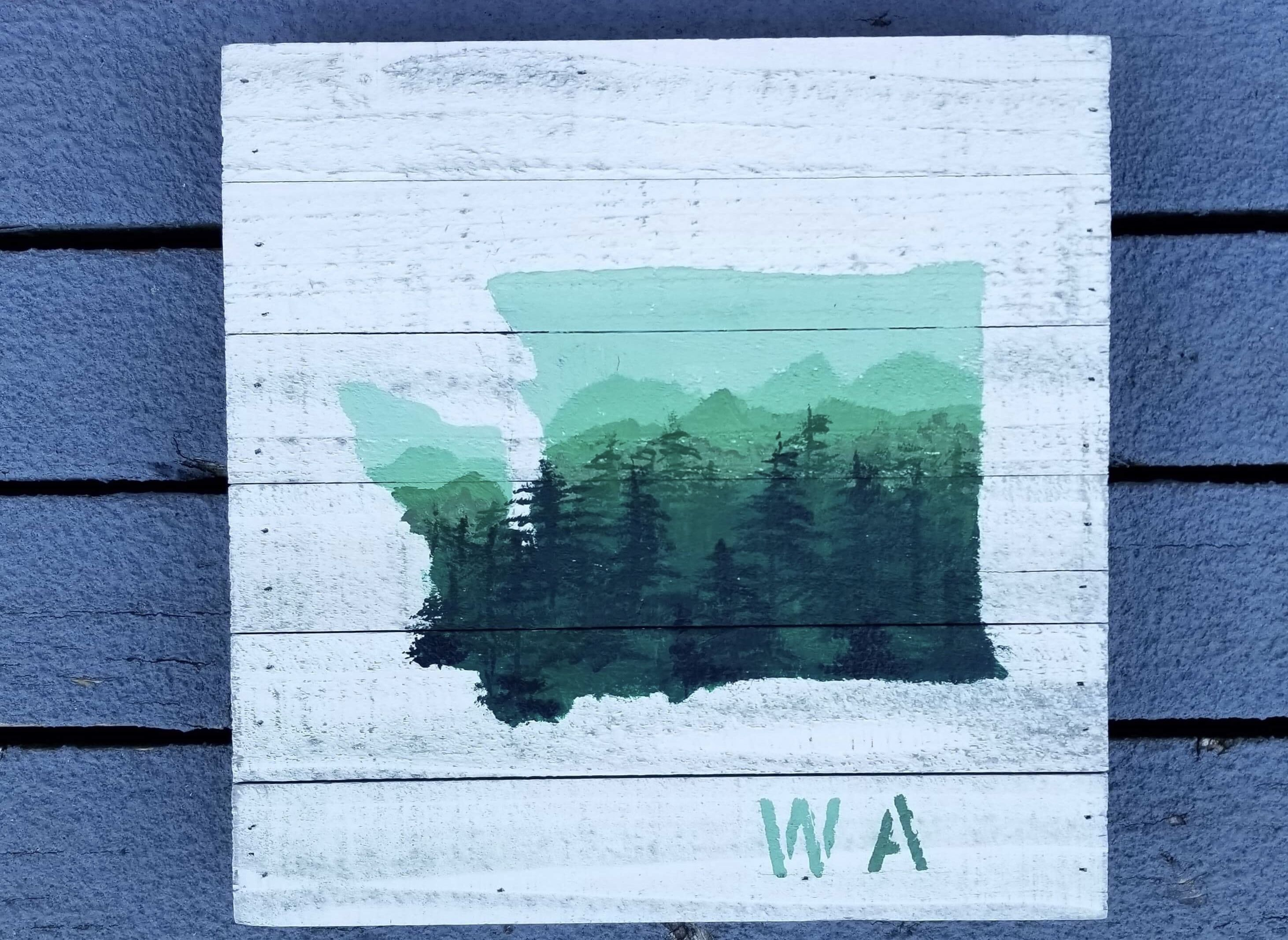 Wa Washington State Painting On White Washed Board Canvas 12x12 State Canvas Canvas Painting Painting
