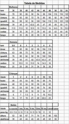 Tabela De Medidas Para Manequim Feminino 34 A 46 Tabela De
