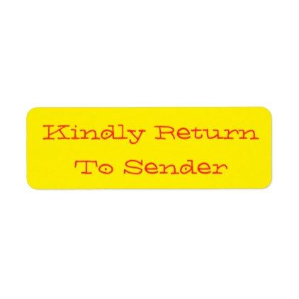 kindly return to sender label return address labels label diy