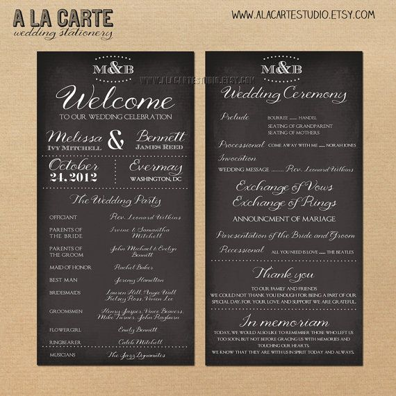 Wedding Ceremony Program Card Wedding Program by alacartestudio