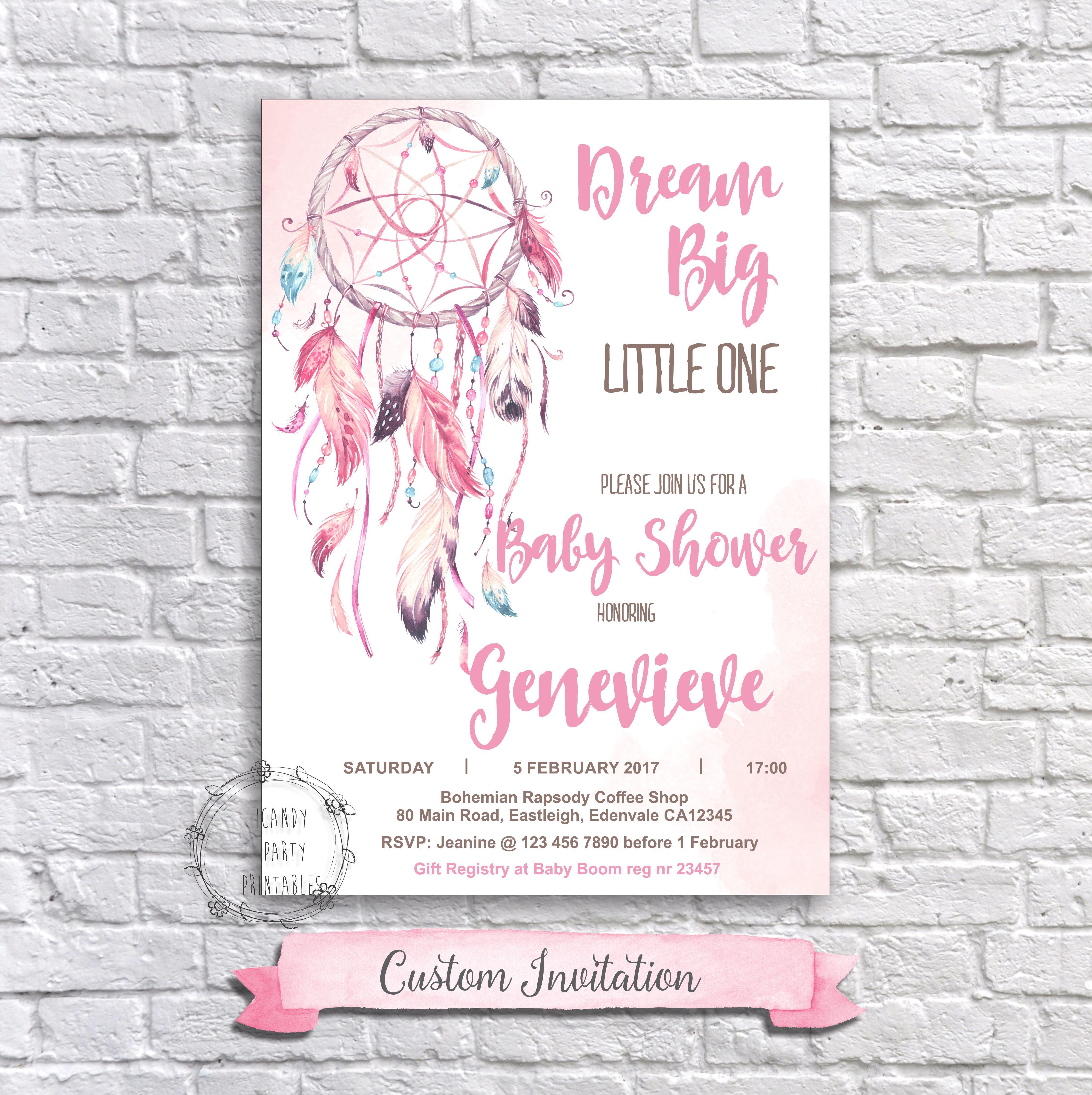Boho Baby Shower Invitation, Dream Catcher Baby Shower Invitation, Baby