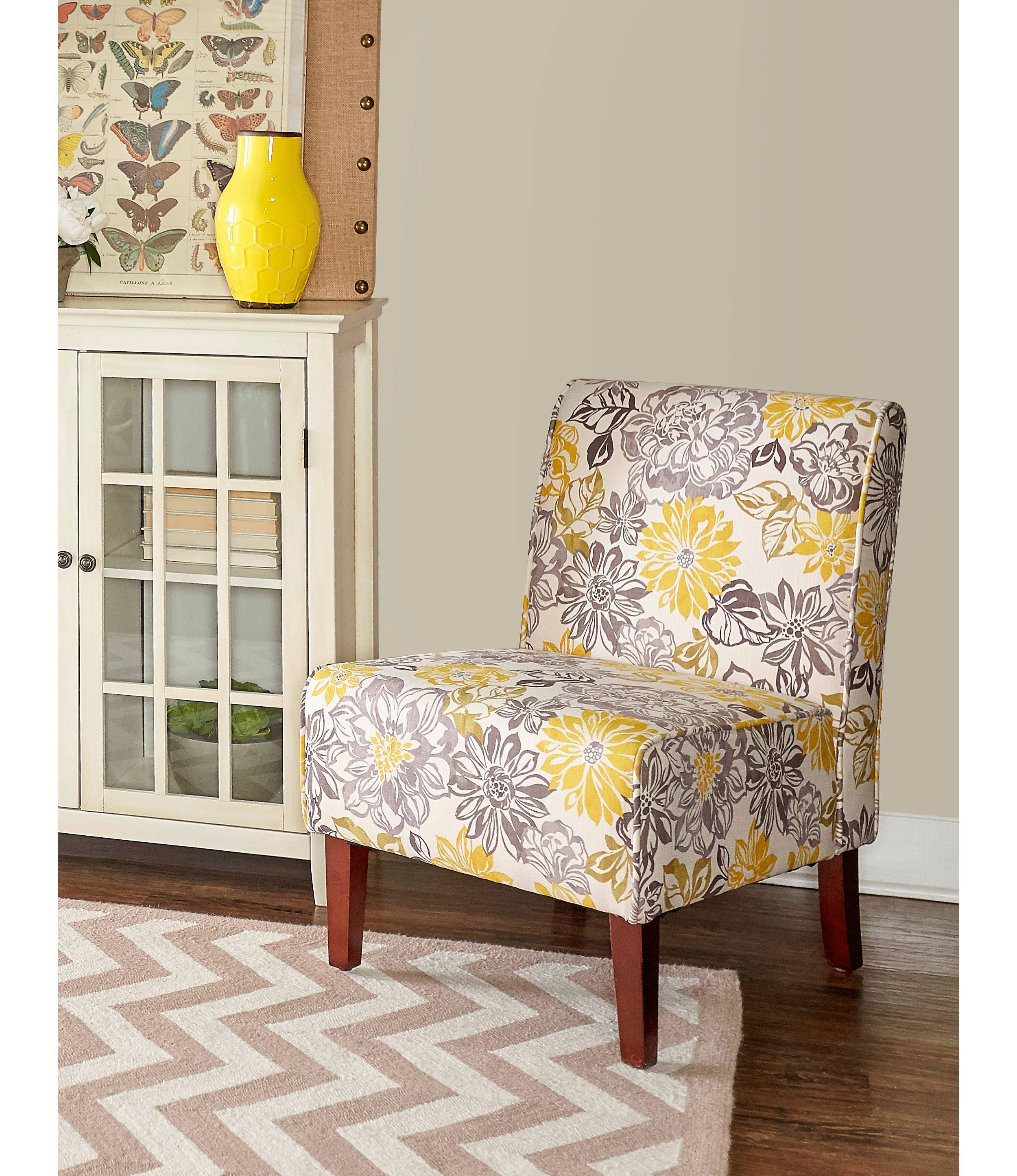 Bella Floral Gray And Yellow Accent Chair Yellow Accent Chairs