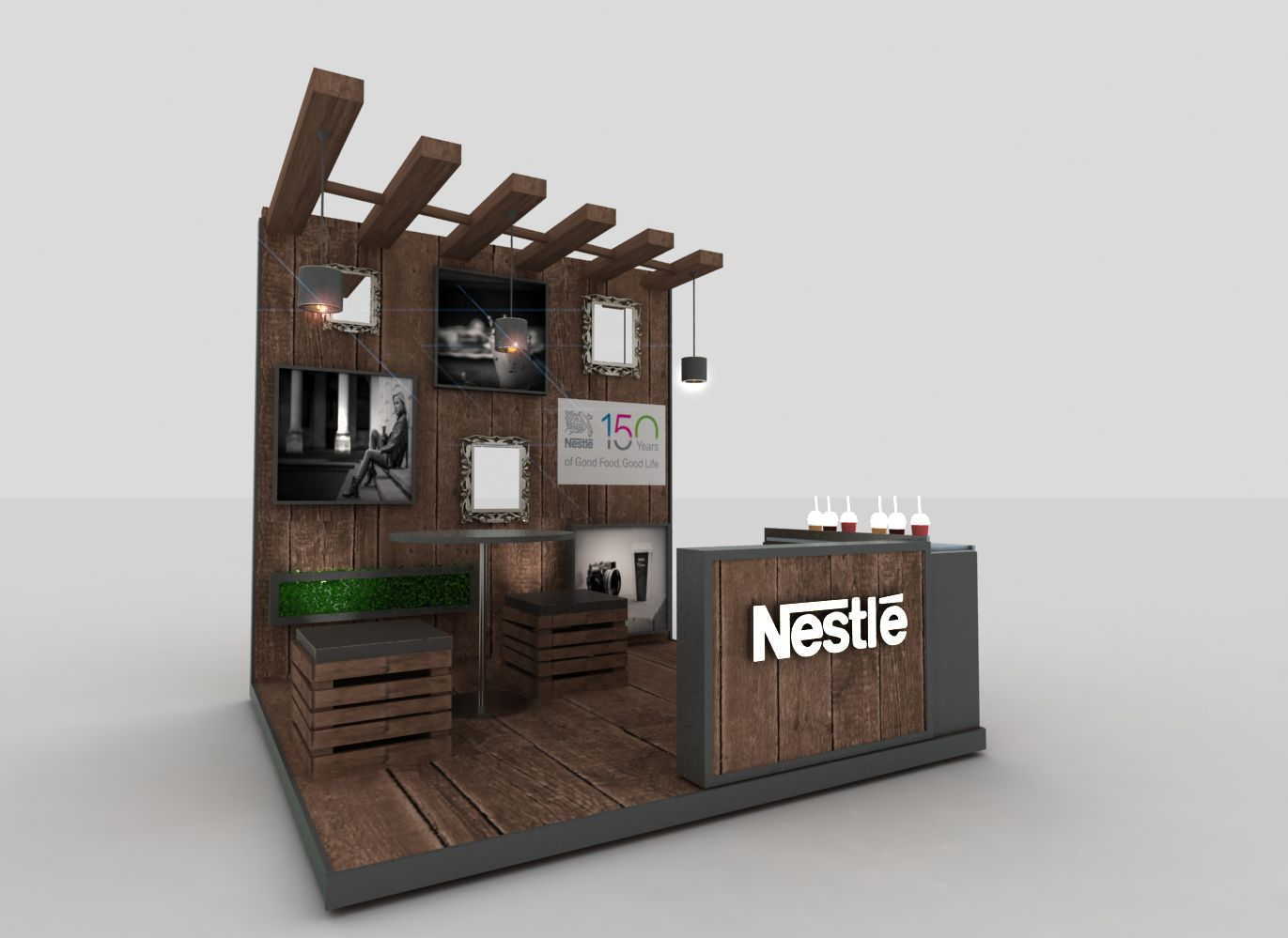 Exhibition Stand Kiosk : Nestle leadership activation stand design booth in