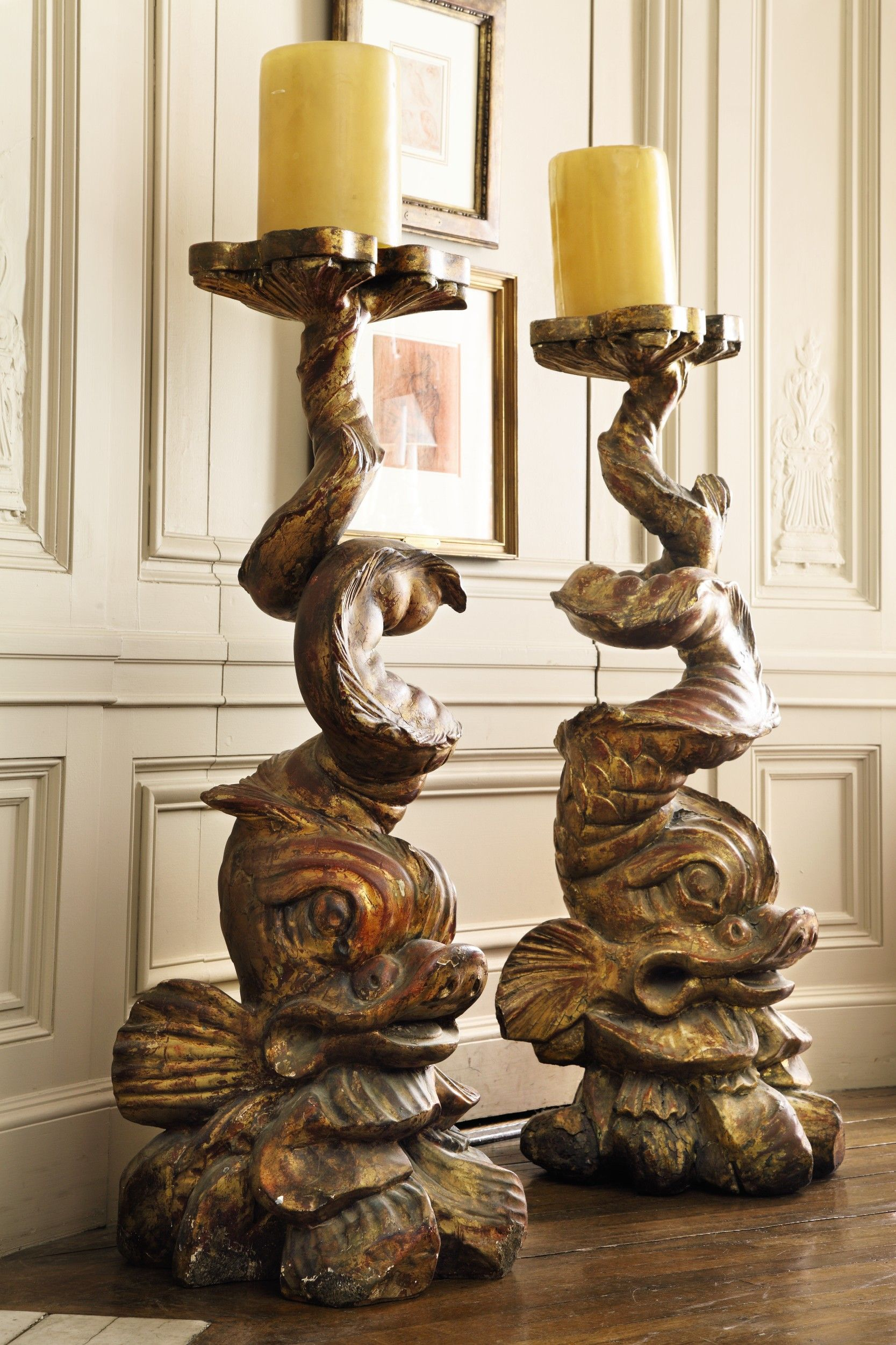 italian baroque carved giltwood fish torch holders from the venetian ...