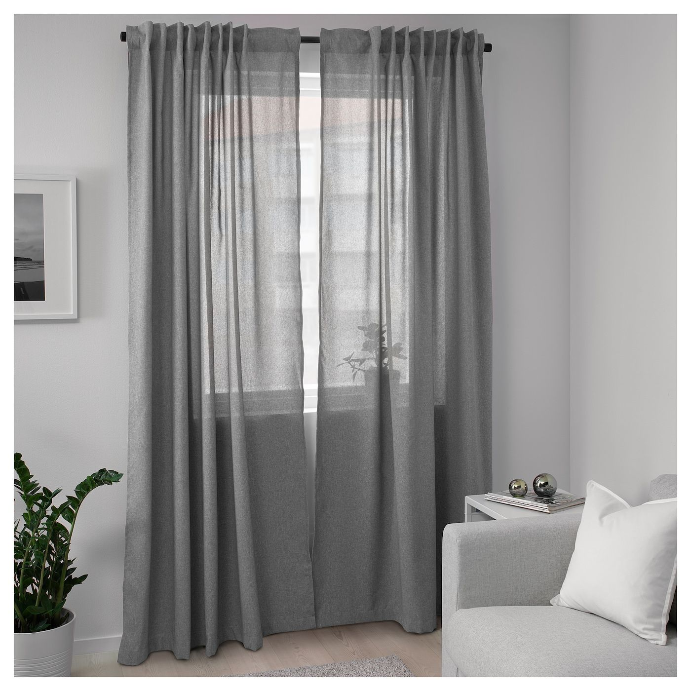 Hannalena Rideaux 2 Pieces Gris 145x300 Cm Ikea Grey Curtains Living Room Room Darkening Curtains Room Darkening