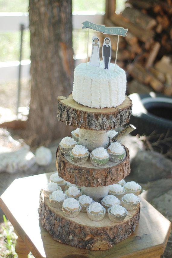 Rustic Wood Tree Slice 3 Tier Cake And Cupcake Stand For Your Etsy Wood Cake Stand Wood Cake Cupcake Cakes