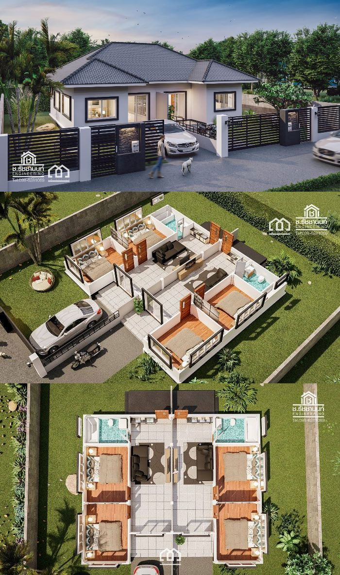 One Storey Duplex House Plan with 2 Bedrooms in 2020