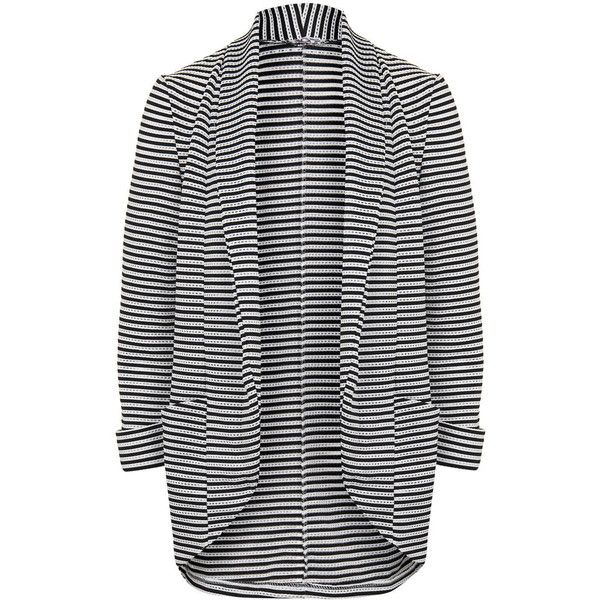 Stripey Soft Blazer by Wal G ($40) ❤ liked on Polyvore featuring outerwear, jackets, blazers, black, topshop jacket, topshop, blazer jacket and topshop blazer