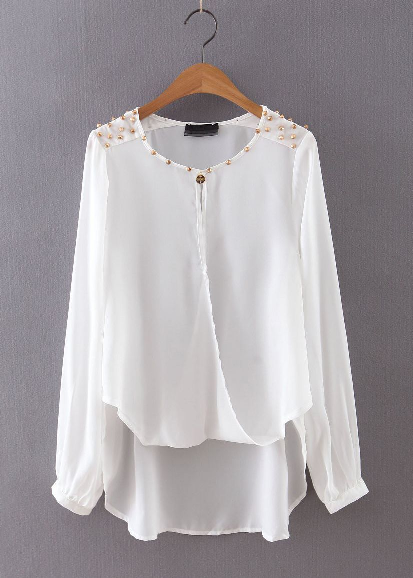 c20906a730ab Long Sleeve Blouse with Rivet Detail DisheeFashion.com   Fashion ...