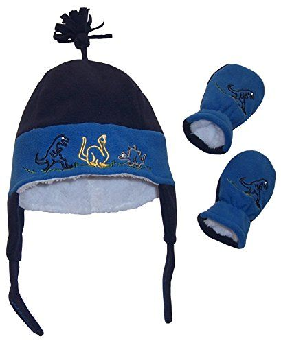 N'Ice Caps Baby And Little Boys Dino Embroidered Sherpa Lined Set (6-18 months, Infant - Navy/Royal). full sherpa lining in hat and mitten. non pill micro fleece shell soft sherpa lining. multi colores dinosaur embroidery. adjustable velcro ear tabs tassle on top of beannie style hat. elastic in wrist of mitten.