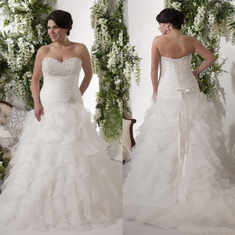Wedding Gowns With Ruffles: White/Ivory Ruffles Wedding Dress Bridal Gown Plus Size