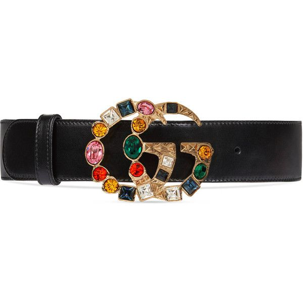 51a4622e435b Gucci Leather Belt With Crystal Double G Buckle ( 650) ❤ liked on Polyvore  featuring accessories, belts, black, women, crystal waist belt, waist  belts, ...