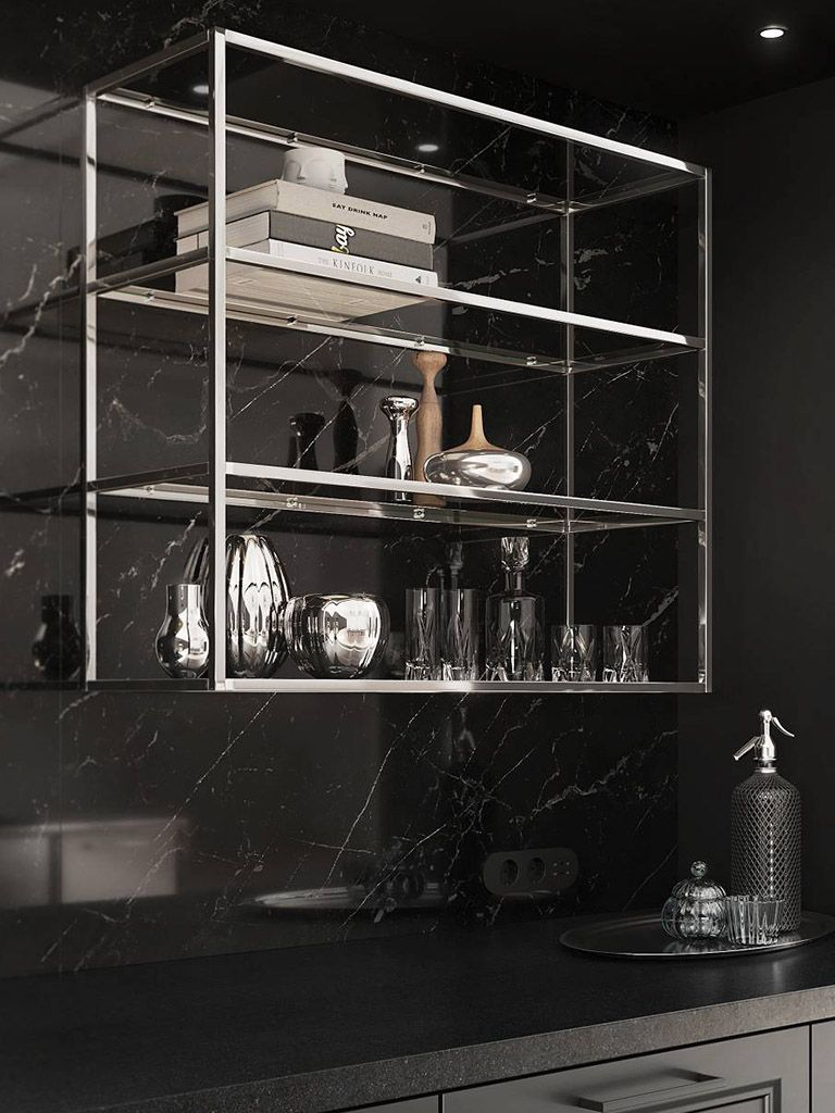Chrome Framed Shelving Unit Siematic Kitchens Surfaces Materials Finishes Colors Glass Cabinet Doors Interior Lighting Laminate Furniture