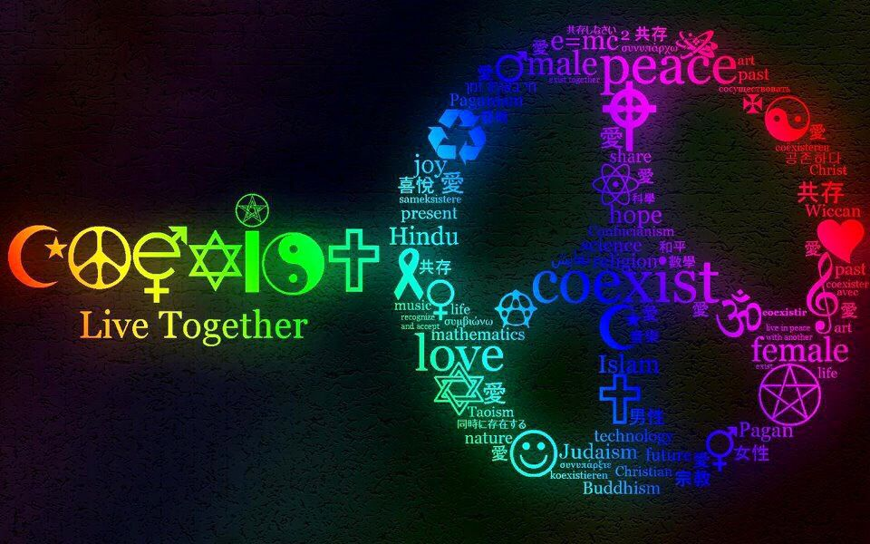 Peace coexist quote art | Peace Signs | Neon Signs, Signs, Peace
