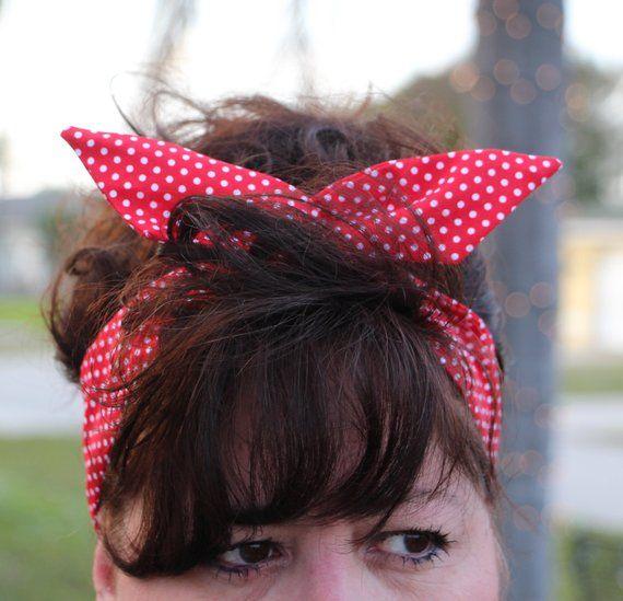 Red with white polka dot bow headband Pin up Rockabilly