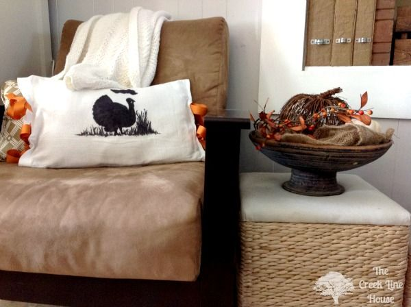 A whole fleet of kid sharpied pillows might be a fun twist on this??  The Creek Line House: Super-Duper Easy Turkey Silhouette Pillow