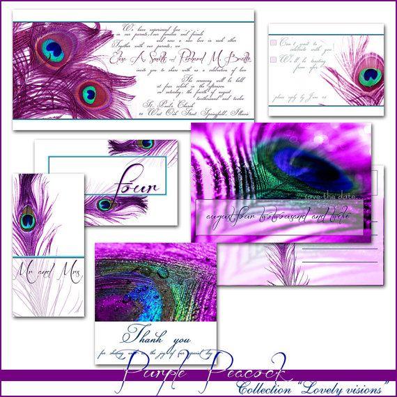 Purple Peacock Wedding Invitation Printable Templates Available At Etsy