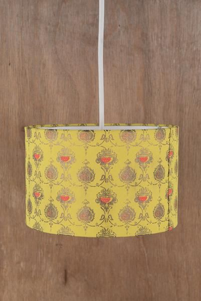 Lime with Gold Print Paper Lampshade