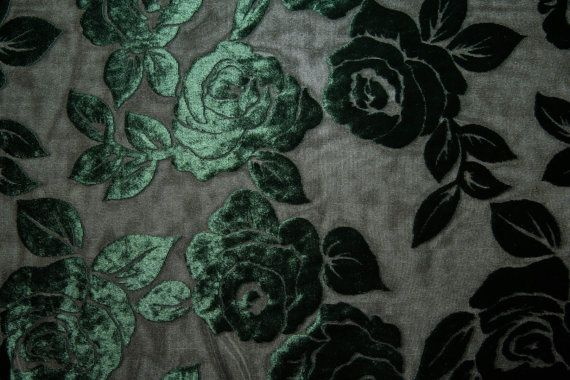 Forest Green Floral Burnout Stretch Velvet by FabricsUniverse