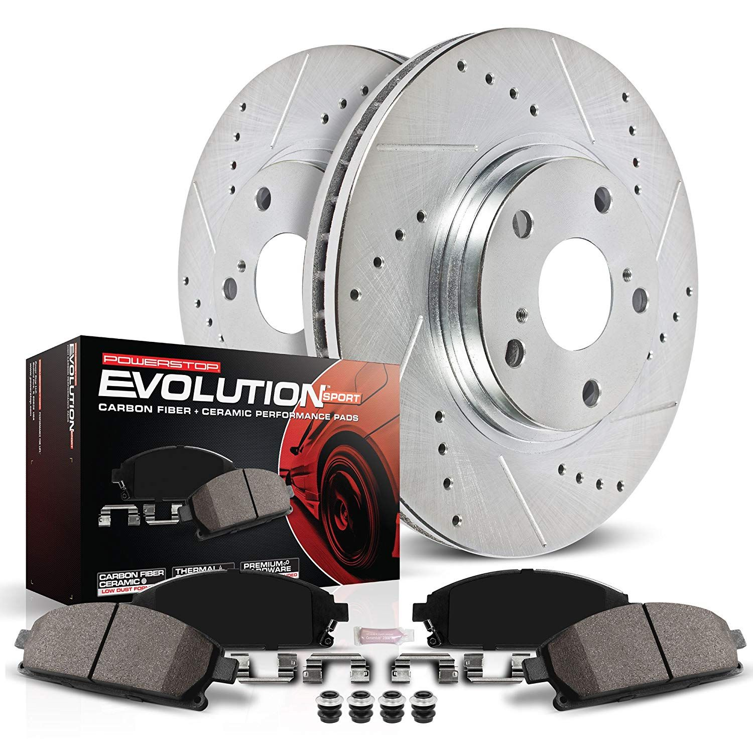 Brake Pads And Rotors Prices >> Power Stop K2138 Front Z23 Evolution Brake Kit With Drilled