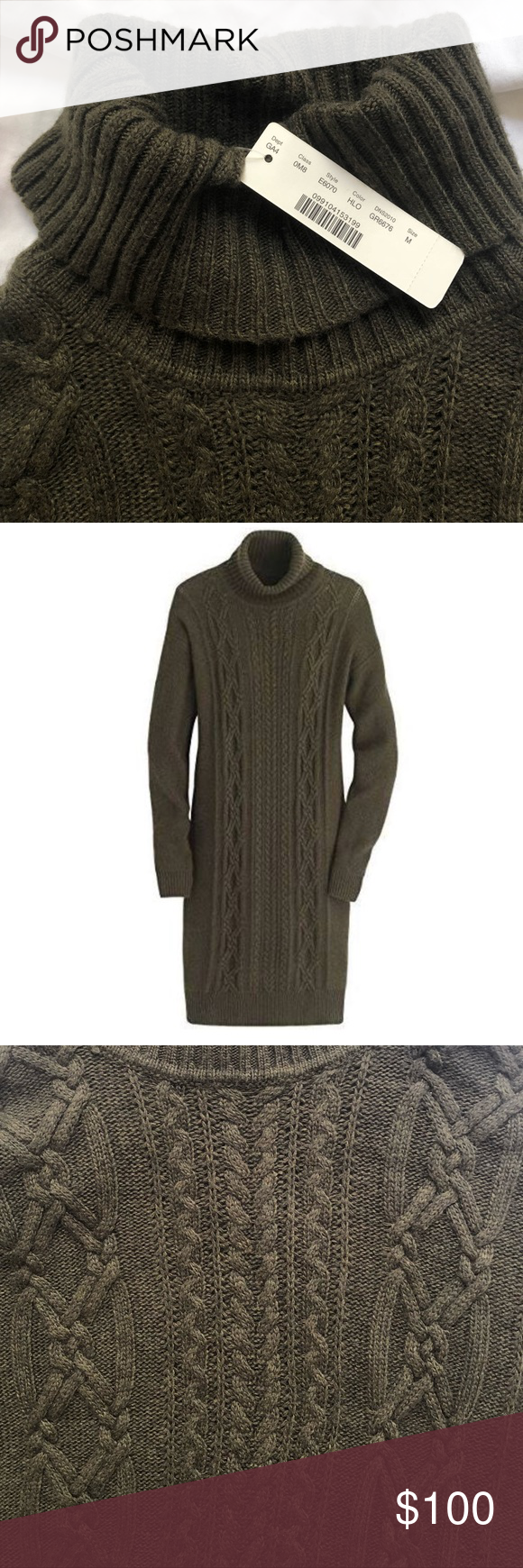 0b127cbce19 J.CREW Cable turtleneck sweater-dress Warm Sweater Dress Never Worn  Wool nylon viscose. cozy wool-blend cable-knit. J. Crew Dresses