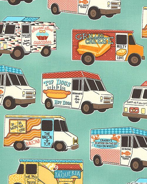 Food Truck Convention - Retro Green - Quilt Fabrics from www.eQuiltercom
