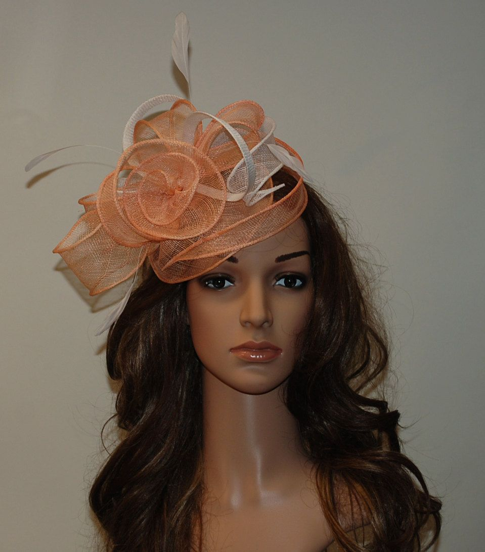 Coral fascinator hat pink fascinator for weddings by MargeIilane