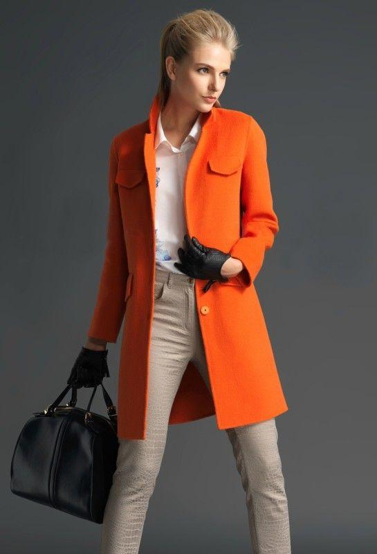Abrigo collar bolsillos manga larga-Naranja EUR€28.98