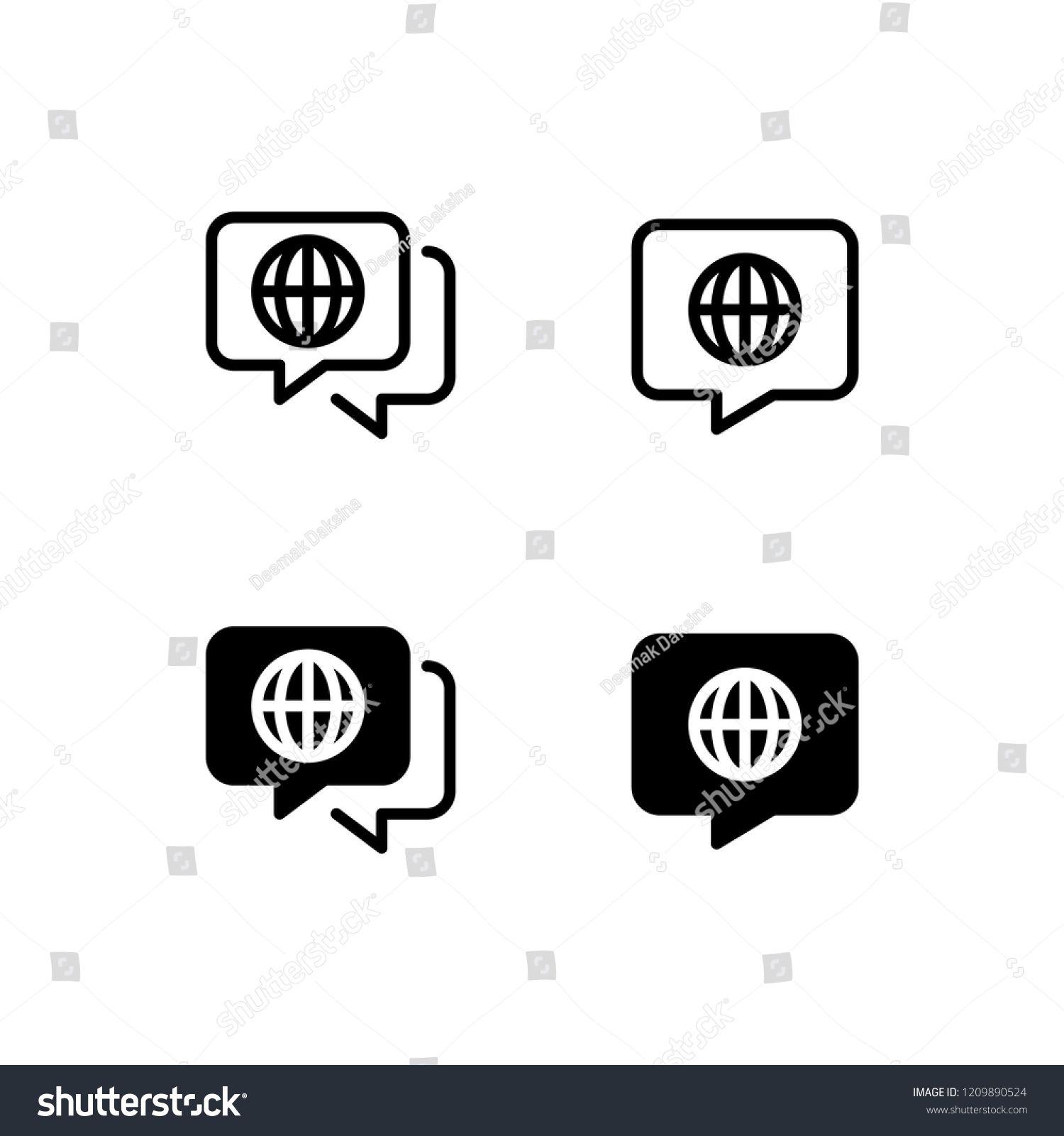 Language Icon Design Language English Translate International Translation Icon Logo Vector Symbol Set Graphic Design Logo Language Icon Logo Design