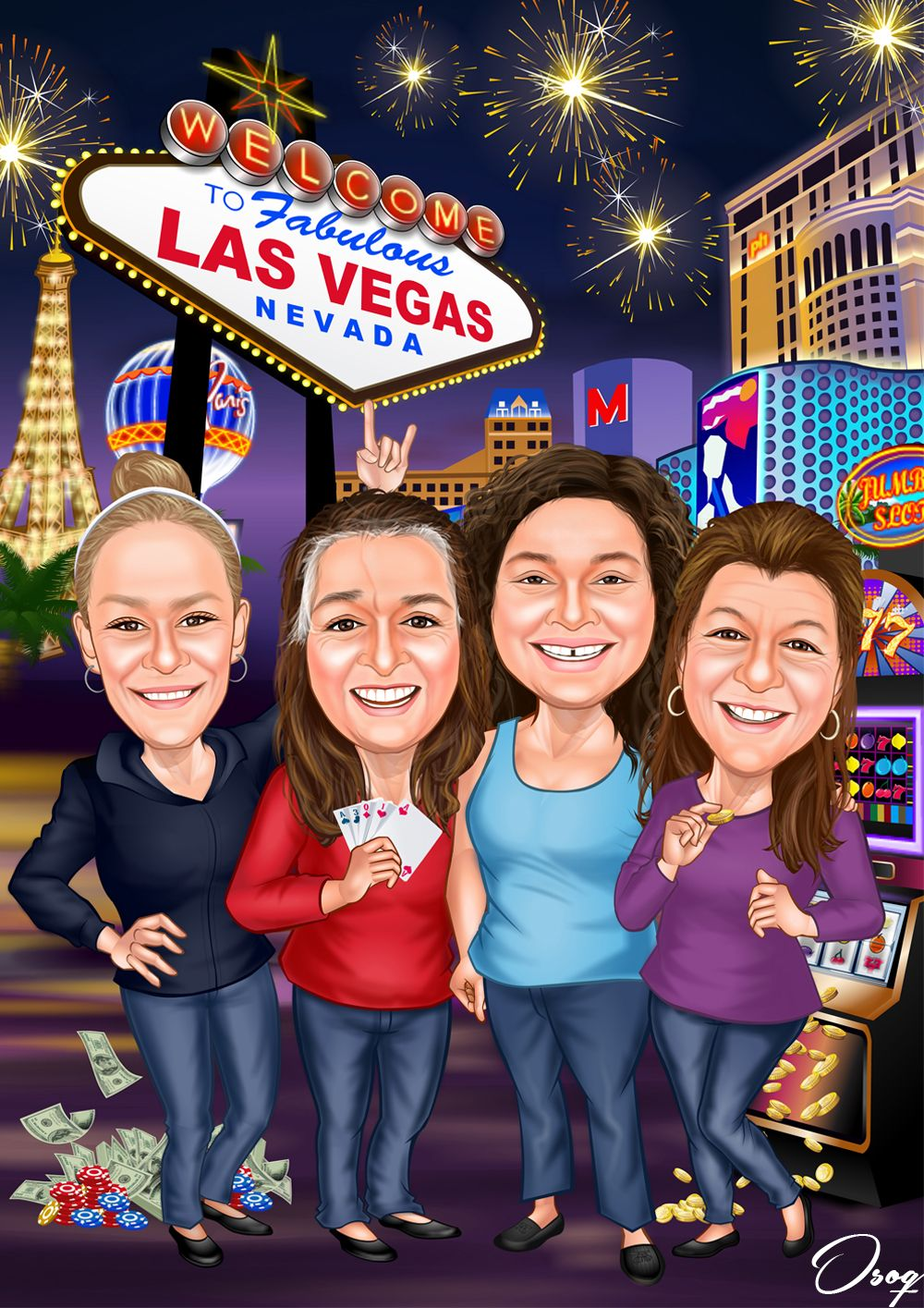 Four women are standing in front of the casino in las