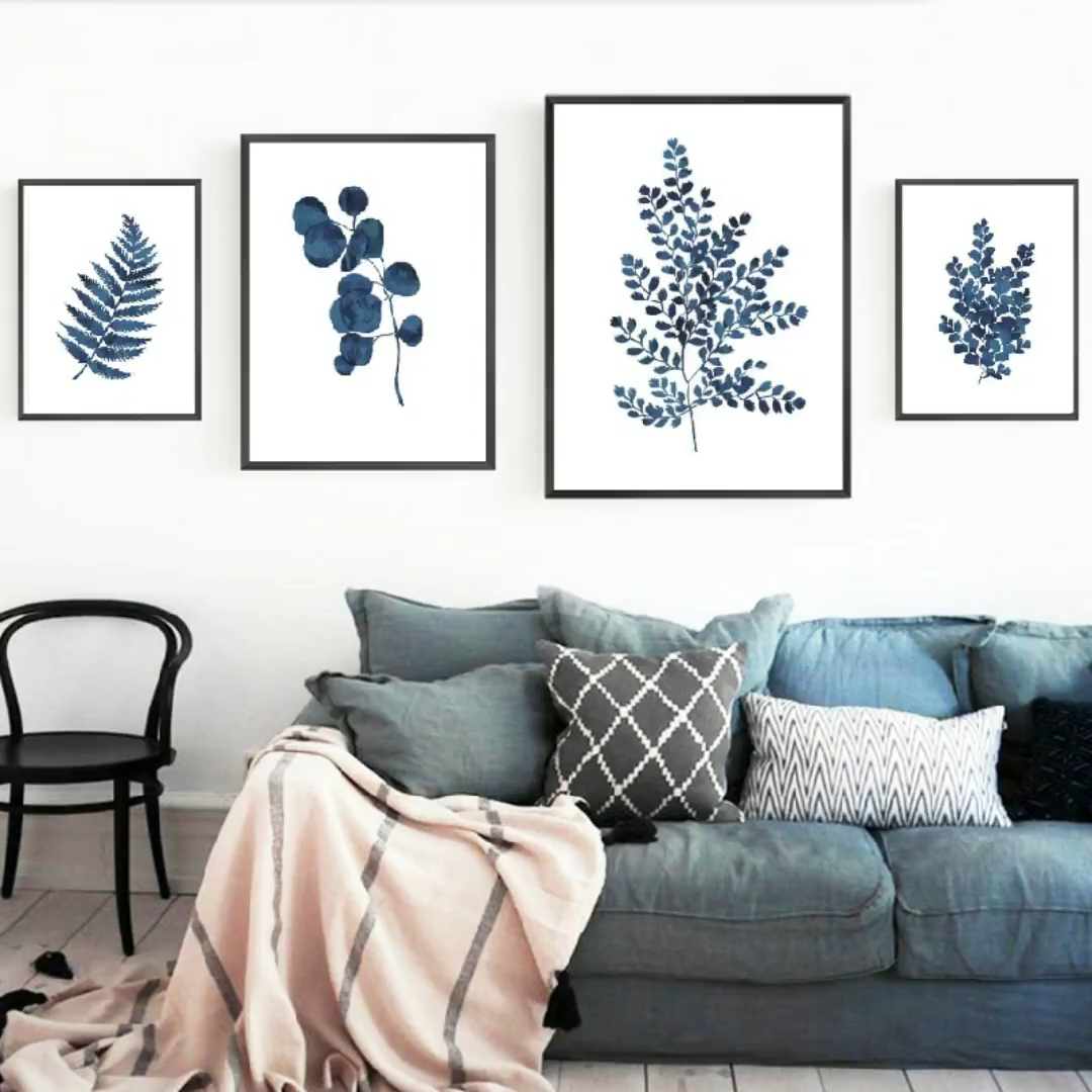 Photo of 4 pieces Leaf Art Canvas Painting Wall Pictures