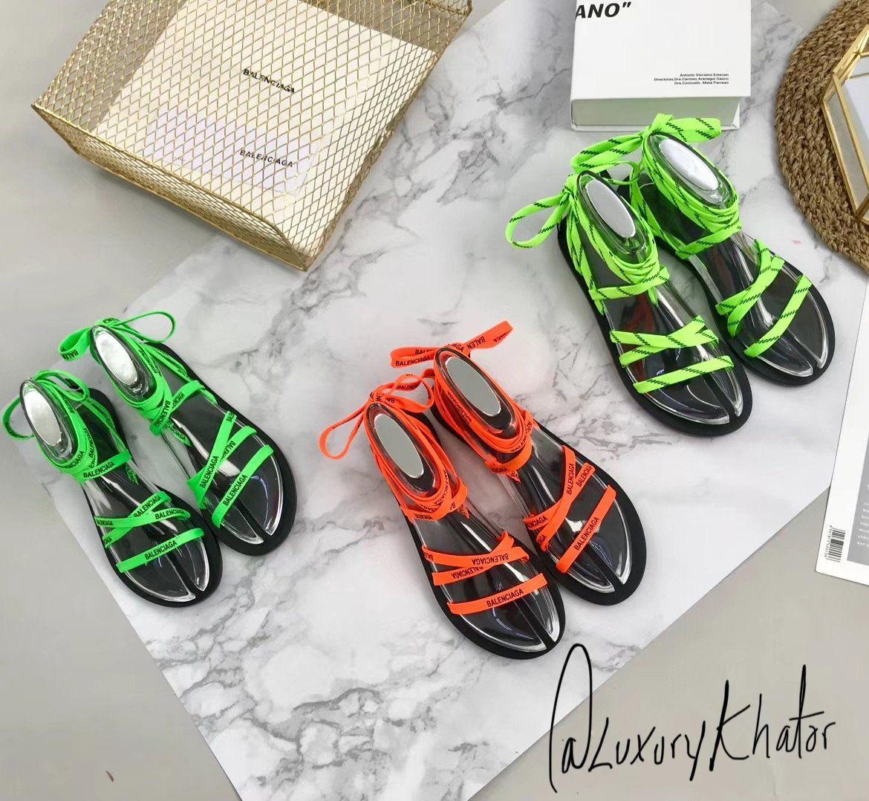 on sale 02866 cdf19 Balenci Neon Sandals | L U X U R Y K H A T O R .COM✨ in ...
