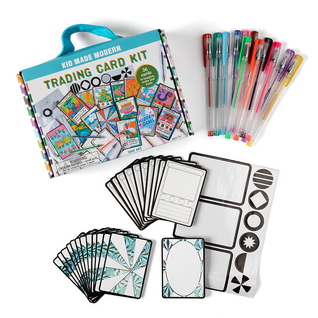 Make Your Own Trading Cards Kit Diy Kids Tcg Uncommon Goods Unique Gifts For Kids Modern Card Trading Cards