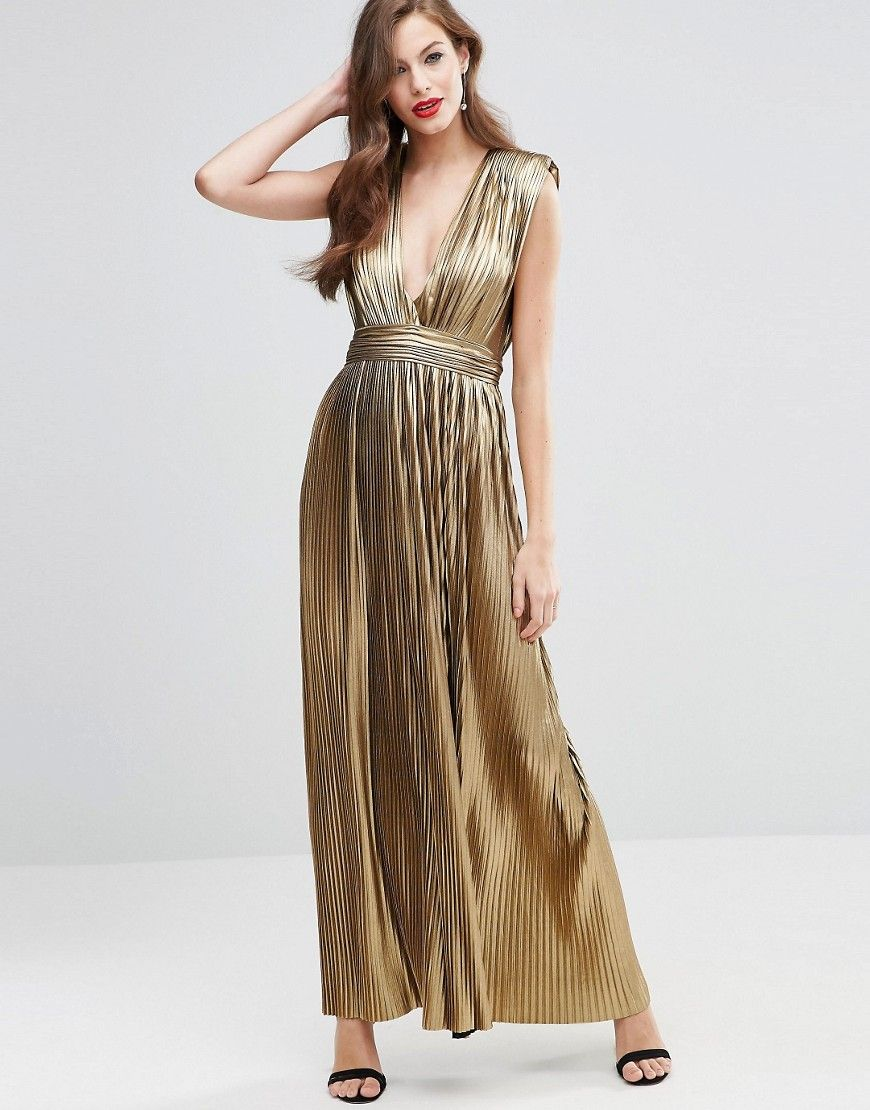 1ebb98a95b ASOS RED CARPET Gold Metallic Pleated Plunge Maxi Dress. Perfect for  cleopatra costume!