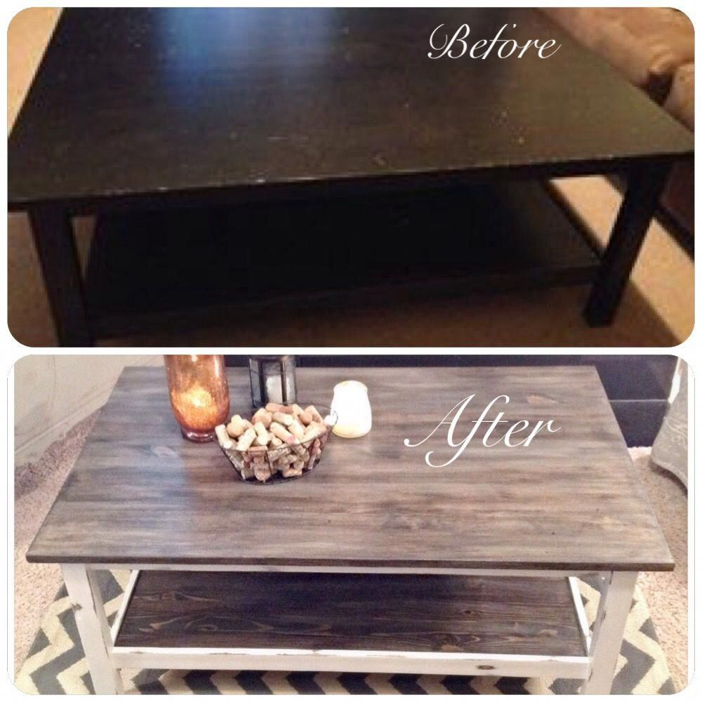 ikea coffee table use to be all black now it's been given